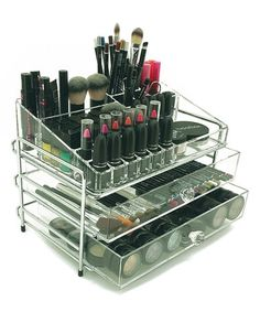This Three-Tiered Chrome Cosmetic Organizer is perfect! #zulilyfinds
