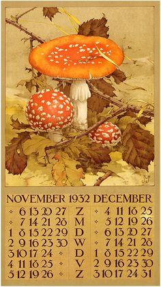 ¤ Calendar 1932 - November December.  Amanites tue mouche.  Jan Voerman Jr.(1890-1970)