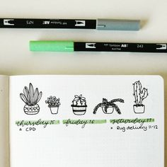 """Bujo Nina on Instagram: """"Close up of my #tinyplants for this week ☺"""""""