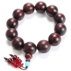 High Density 20mm Pterocarpus Santalinus Beads Bracelet Buddha Buddhist Meditation Prayer Bead Charms Men Jewelry