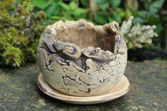 Keramik Bonsaischale rund, unglasiert mit Untersetzer - Unikat