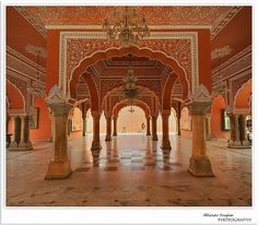 City Palace -Jaipur - By far one of my favourite places in India! It was stunning ~ Elana  #India #Peach #Palace #Orange #Jaipur