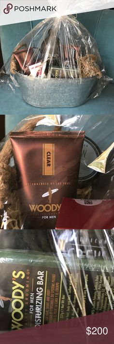 Fabulous basket of men's grooming products Spoil the man in your life with a handmade basket of high end grooming products. Includes all full size products. Woodys shave gel, j crew fiber, redken conditioner, woodys moisturising bar soap, j crew shampoos, murad 30 spf oil free sunscreen Other