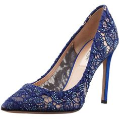 Valentino Crystal-Embellished Lace Pointy Pump, Blue (6.725 BRL) found on Polyvore featuring shoes, pumps, heels, sapatos, blue, valentino pumps, blue pumps, blue heel pumps, pointy toe shoes and pointy pumps