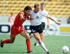 West Germany 1 Morocco 0 in 1986 in Monterrey. Karl-Heinz Rummenigge comes for forward in Round 2 at the World Cup Finals.