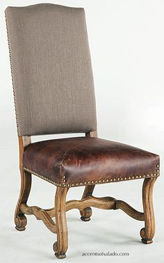 Gatlin Linen and Leather Dining Chair - Distressed Top Grain Leather -  Medium Brown Leather Seat with Gray Linen Back -  Solid Mango Wood Base in Blonde Stain Finish. Find the Gatlin at accentsofsalado.com.
