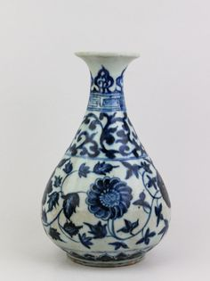 A RARE MING DYNASTY 15TH CENTURY YONGLE PERIOD BLUE & WHITE YUHUCHUN WITH CHRYSANTHEMUM.