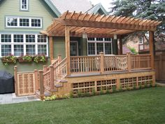 This one is nice and I like how they did the wrap around the deck instead of lattice.