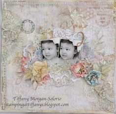 Your 2 ~ Vintage style page with a sweet Shabby Chic look - a great layout idea for modern family photos included in your heritage album.