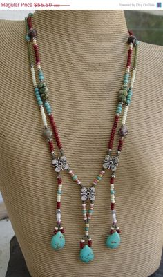 SALE Apache Tears - Turquoise Teardrops, Glass and Silver Beaded Breast Plate - Bib - Necklace Handmade. $47.18, via Etsy. #Beads #Necklace #DoubleStrand