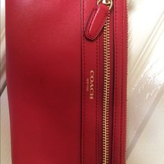 Coach Clutches & Wallets - Coach red zip wallet