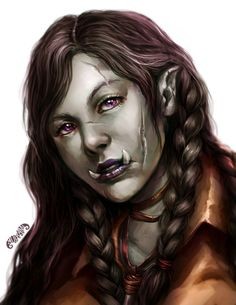 Official Post from yuikami: Ownka, the anti-social half-orc druid! Study on half-orc and a portrait of a character from my friend's DnD Campaign I'm in. Fantasy Races, Fantasy Warrior, Fantasy Rpg, Medieval Fantasy, Orc Warrior, Dungeons And Dragons Characters, D D Characters, Fantasy Characters, Mythological Characters