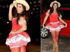 vestidos caipira curtos com bombachinha para festa junina