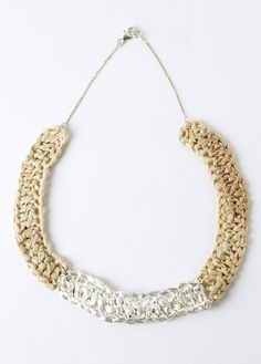 Mirit Weinstock Knitted Rafia necklace with Silver Dipped detail.     $319