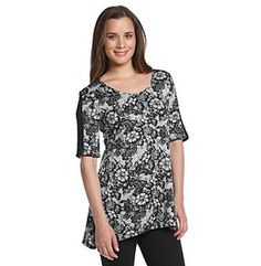Notations® All Over Floral Print Sharkbite Top
