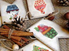 Купить Новогодняя гирлянда флажки деревянная Новогодние кексы. Декупаж - комбинированный, гирлянда, гирлянда декупаж