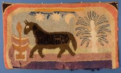 """This is a beautiful & very folky hooked rug. It shows a monument, a horse a tree and stars and moon. It needs a little restoration. There are a couple tears and worn area along the bottom. The binding along the right side needs redone. The colors are well chosen and work well together. The rug is backed by a gray denim. This folky rug measures 28"""" X 48"""". 