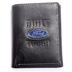 Ford Black Leather Wallet by Ford. $29.99. Finely stitched and expertly crafted of genuine leather, this Ford Built Tough tri-fold wallet fits comfortably into a pocket or purse. Practical yet attractive, this quality personal accessory has numerous slots for cards, a divided bill compartment, and a rugged transparent pocket for a drivers license.  This Ford wallet proudly bears the classic Ford logo cast onto a brightly polished solid metal medallion in colorful ba...