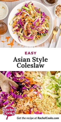 Asian salad with ramen noodles combines a variety of tastes and textures and makes enough to feed a crowd! This is a fabulous side dish that pairs well with any Asian dish. With a soy vinaigrette dressing, it's sure to please everyone. Healthy Coleslaw Recipes, Lunch Recipes, Cooking Recipes, Ramen Noodle Salad, Ramen Noodles, Bbq Chicken Salad, Vinaigrette Dressing, Kid Friendly Meals, Food Processor Recipes