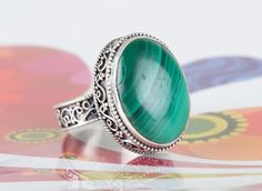Silver Rings – Malachite Ring, 925 Silver Ring, Bohomiean Ring – a unique product by Midas-Jewelry on DaWanda