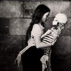 Halloween Decor Girl and Skeleton Dance Photograph by ellemoss