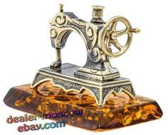 Bronze-Solid-Brass-Baltic-Amber-Figurine-Sewing-Machine-Miniature-Statuette