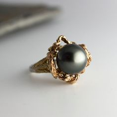 Engagement Tahitian Pearl,Black Pearl,Pearl Ring,Silver Ring,Gold Ring,Engagement Ring,Handmade Ring,White Pearl Ring,Bridal Ring by FutureArtJewelry on Etsy