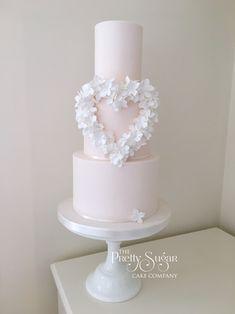 Blush, white Hydrangea heart wedding cake