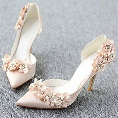 Flower Stiletto Heel Pointed Toe Slip-On Women's Wedding Shoes - Heels Wedding Boots, Wedding Shoes Heels, Bride Shoes, Lace Up Heels, Champagne Wedding Shoes, Prom Shoes, Strap Heels, Gold Wedding, Floral Wedding