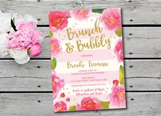 Bubbly and Brunch Invitation  Floral Bridal Shower by Oohlalovely