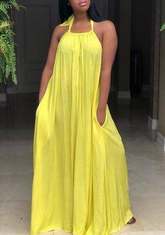 b75a8d2dc3bd Yellow Pockets Spaghetti Strap Halter Neck Backless Ruched Flowy Beachwear  Party Maxi Dress