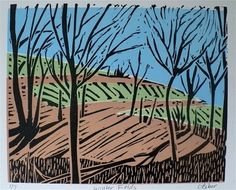 Winter Linoleum Block Print Ideas | Winter Fields--A Linoleum Print/Linocut/Block Print of Farm Fields in ...