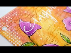 Mixed Media Journal | page 3 - YouTube/////EXCELLENT VIDEO on gelatos for background and purple flowers, script rubber stamp, and texture paste with simple stencils, very helpful and easy to do!