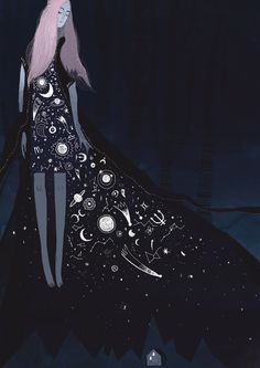 by Alexandra Dvornikova #illustration Woman with moon constellations planets and stars on dress.  boho design.