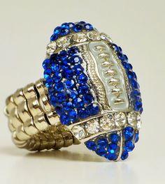 Dallas Cowboys Bling Ring Blue Rhinestone Football by TundraFan