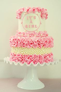 Beautiful Cake Pictures: Pretty Pink Ruffles Baby Shower Cake Photo - Baby Shower Cakes, Cakes With Ruffles, Colorful Cakes, Pink Cakes, Themed Cakes - Torta Baby Shower, Girl Shower Cake, Gorgeous Cakes, Pretty Cakes, Cute Cakes, Amazing Cakes, Ruffle Cake, Love Cake, Cake Creations