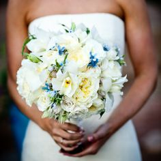 white and blue wedding