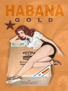 HABANA GOLD Cuban Cigar Cuba Vintage-Style Pinup Girl Poster Art Print 18x24 by Havana Mike, www.amazon.com/...