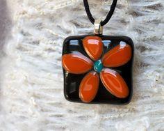 Items similar to Orange Flower Fused Glass Pendant on Etsy Fused Glass Ornaments, Fused Glass Jewelry, Glass Pendants, Glass Fusion Ideas, Glass Artwork, Metal Clay, Ceramic Painting, Flower Pendant, Mosaics