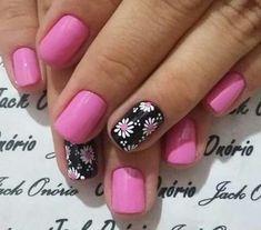 Nail Art Designs, Fingernail Designs, Short Nail Designs, Daisy Nails, Flower Nails, Nail Art Flowers, Cute Nails, Pretty Nails, Toe Nail Art