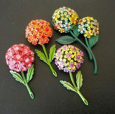 enamel-flower-lot-4-vintage-brooch-pin-rhinestone-cluster-dome-l1