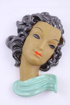 1930s Art Deco ceramic wall mask / plaque ::