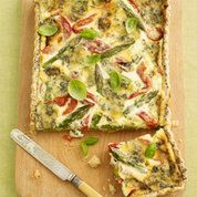 Stilton, red pepper and asparagus flan