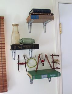 FLIP OVER BRACELET HOLE PUNCH SPACE FOR SCREW INTO BOOK MOUNT THEN STACK MORE BOOKS Homemade book shelves