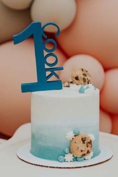 Check out this awesome milk and cookies themed 1st birthday party! The cake is fantastic!! See more party ideas and share yours at CatchMyParty.com