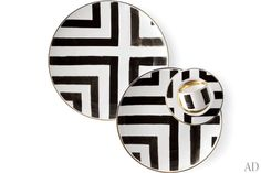 The bold watercolor stripes of Christian Lacroix Maison's Sol y Sombra china, part of the brand's Tales of Porcelain collection for Vista Alegre. Decorative Accessories, Decorative Items, Home Accessories, Dining Ware, Romantic Table, Black White Gold, Affordable Furniture, Christian Lacroix, Home Repair