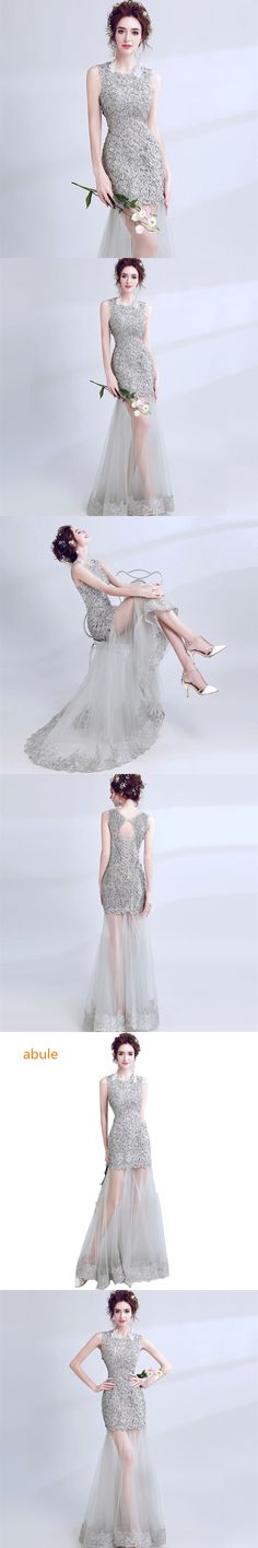 a560853bbd5 abule mermaid Evening Dresses lace up o-neck backless Can see through Evening  gown Sexy