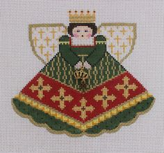 Painted Pony Designs Emerald Queen Angel 996HQ Hand Painted Needlepoint Canvas