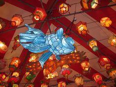 blue fish lantern, via Flickr.