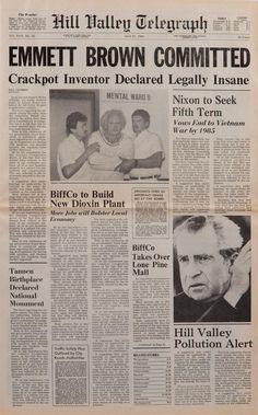 """Por si no lo notaron el diario de Hill Valley se llama """"Hill Valley Telegraph"""" (El telégrafo de Hill Valley)."""